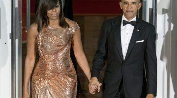 Michelle Obama in Versace jurk bij het laatste staatsdiner