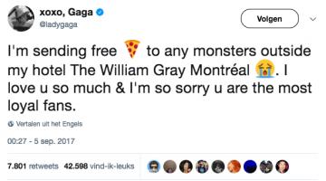 Pizza voor wachtende fans van Lady Gaga!